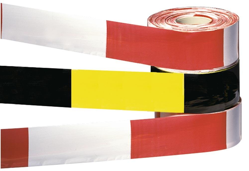 Absperrbänder Länge 500m schwarz/gelb