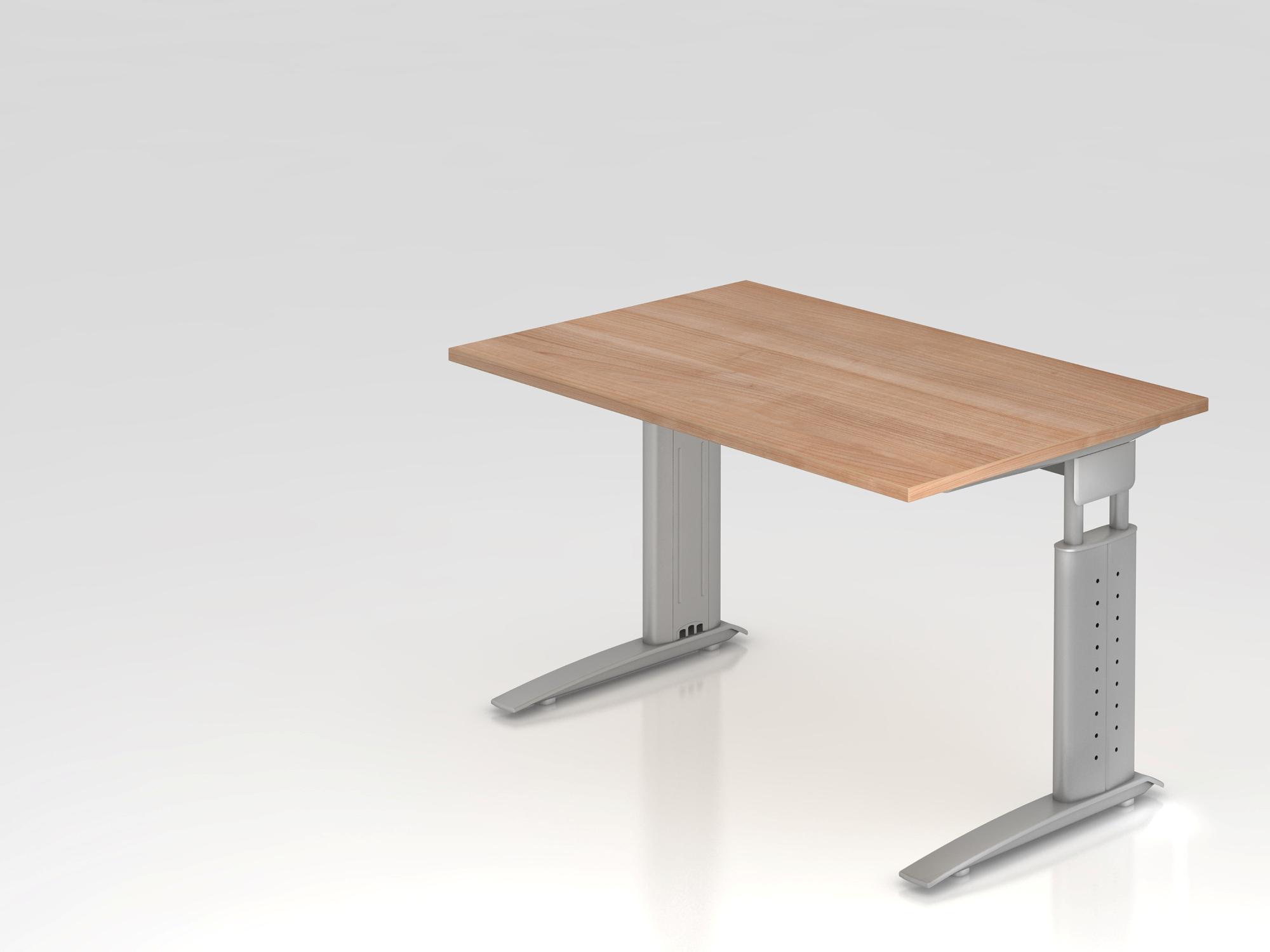 Schreibtisch C-Fuß 120x80cm Weiß/Silber