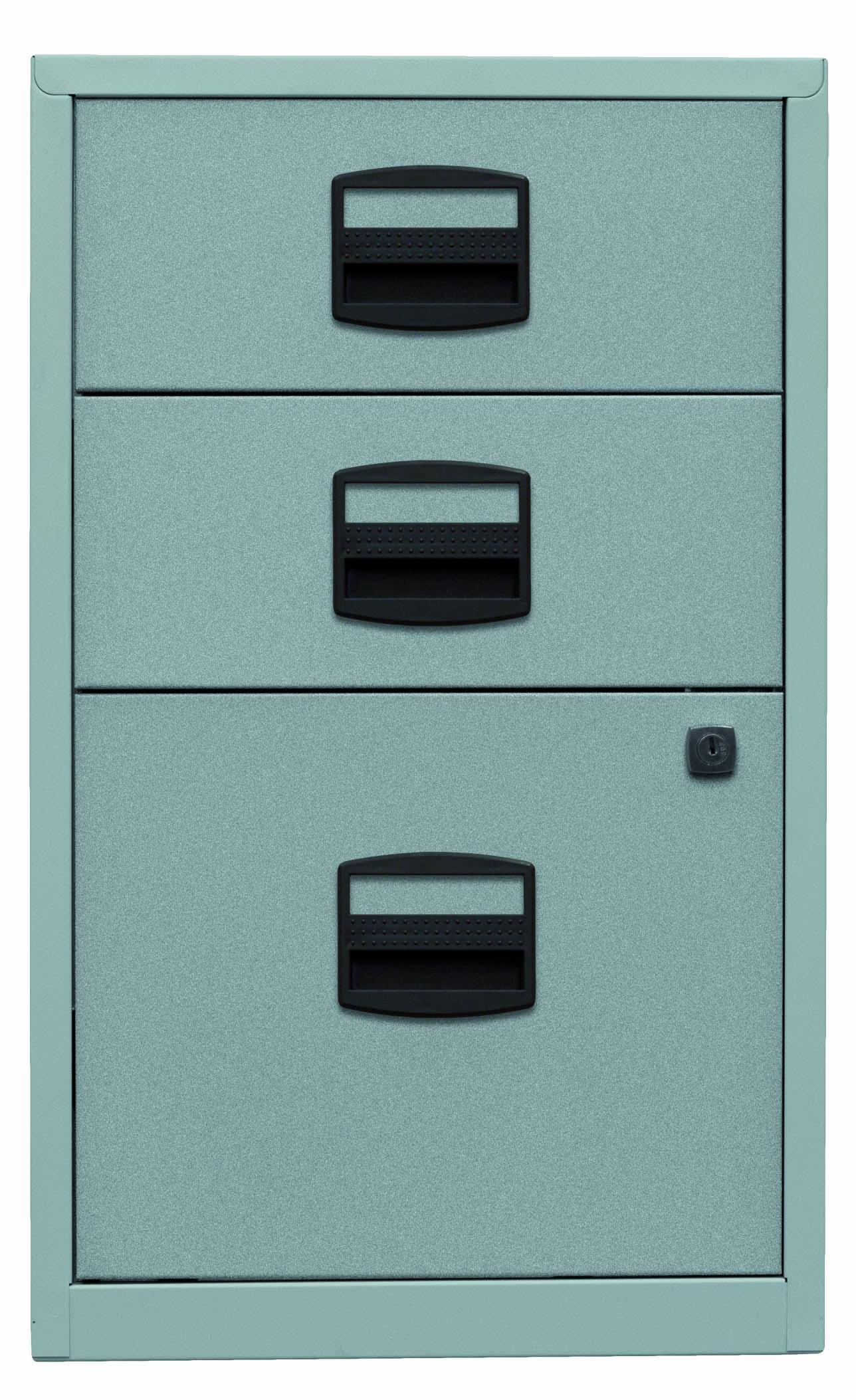 Beistellschrank PFA, 2 Universalschubladen, 1 HR-Schublade, Farbe silber