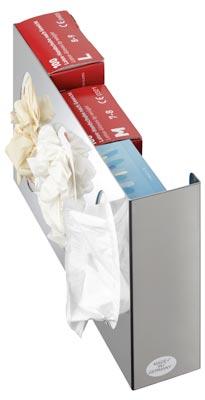 Edelstahl Wandspender, 3-fach für Handschuhboxen, geschlossen, 250x380x80 mm, inkl. Befestigungsmaterial