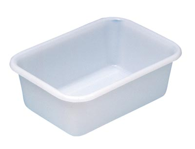 Becken mit umlaufendem U-Rand, PE, mattweiß, Volumen 12 l, LxBxH außen/innen 440x320x155/395x275x150 mm, VE 2 Stück