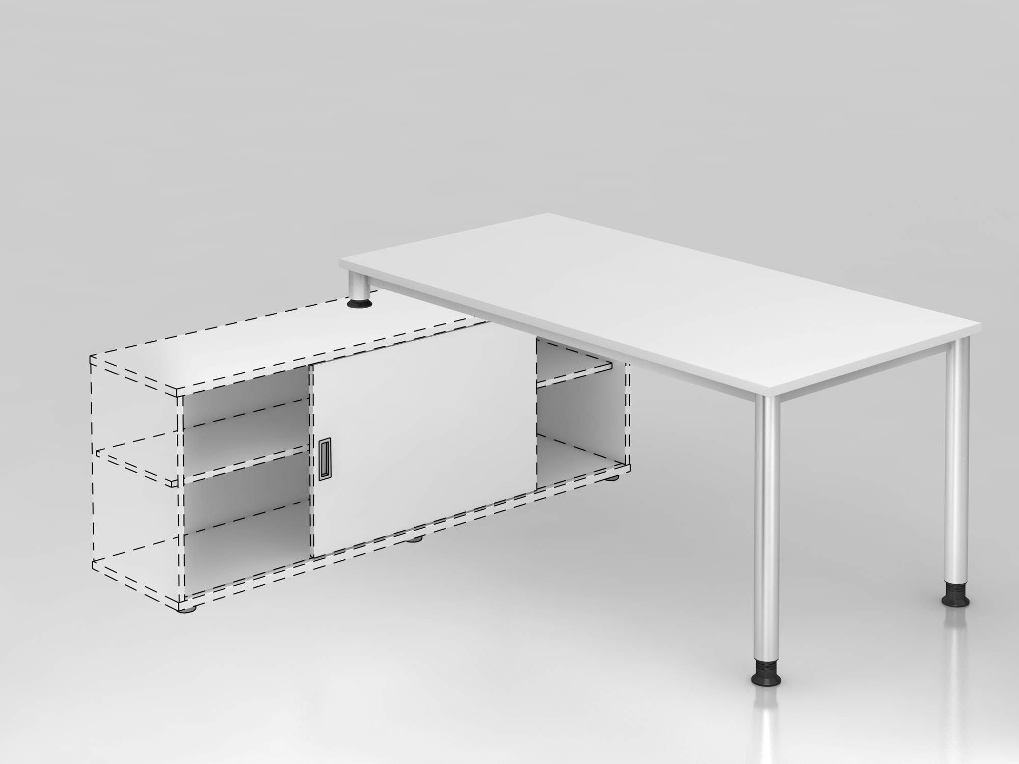 Anbauschreibtisch 4Fuß-rd.160x80cm Weiß/S