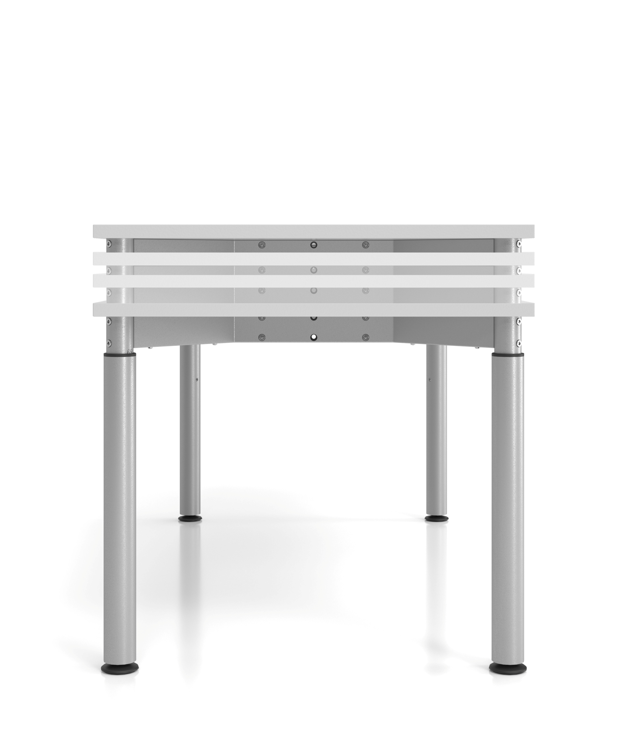 Schreibtisch 4Fuß-rd.160x80cm Grau/Silber