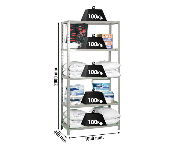 Schraubregal KIT COMFORT PLUS 5/400 GALVA Maße: 200x100x40 Traglast: 100kg Oberfläche: verzinkt