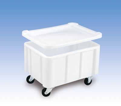 Euronormbehälter, Polyethylen, verrippter Boden, mit 2 Lenk- + 2 Bockr., Vol. 140 l, Außen-/Innennmaße LxBxH 800x600x550/720x515x400 mm