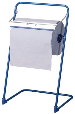 Bodenständer für Putztuchrollen bis 400 mm Breite, Metall, blau, BxTxH 460x440x900 mm