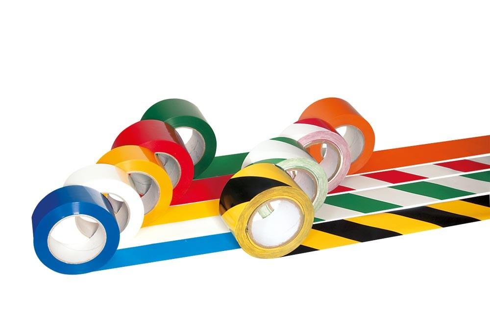 Bodenmarkierbänder 33 m pro Rolle gelb/schwarz gestreift