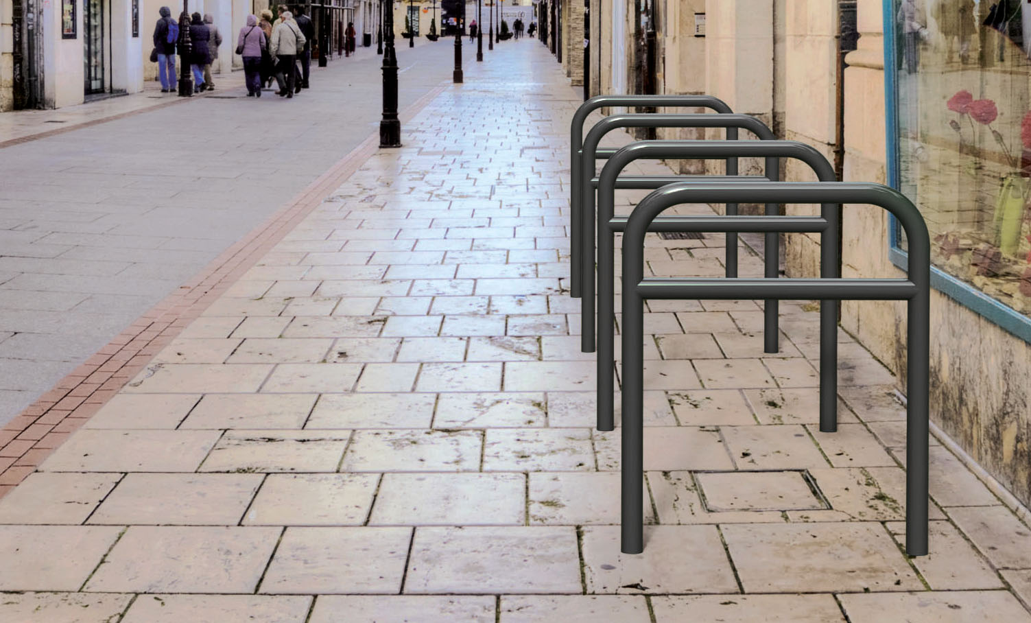 Fahrradbügel Einfach, Mit Querholm Und Mit Schild