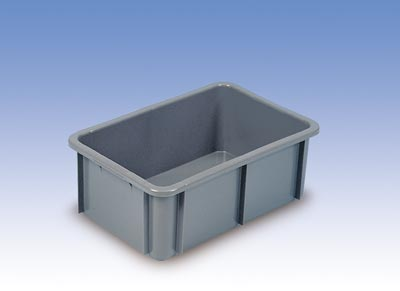 Euronormbehälter, PE, Boden + Wände geschlossen, U-Rand, LxBxH auß/inn 800x600x220/740x540x215 mm, Volumen 80 Liter, Farbe weiß