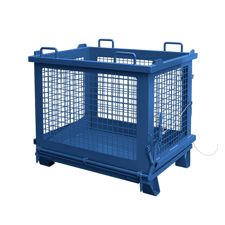 Gitterbehälter mit entriegelbarer Bodenklappe, 2037.12 RAL 5010