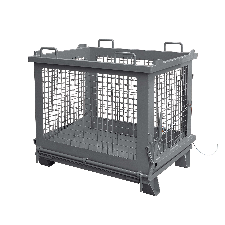 Gitterbehälter mit entriegelbarer Bodenklappe, 2037.12 RAL 7016
