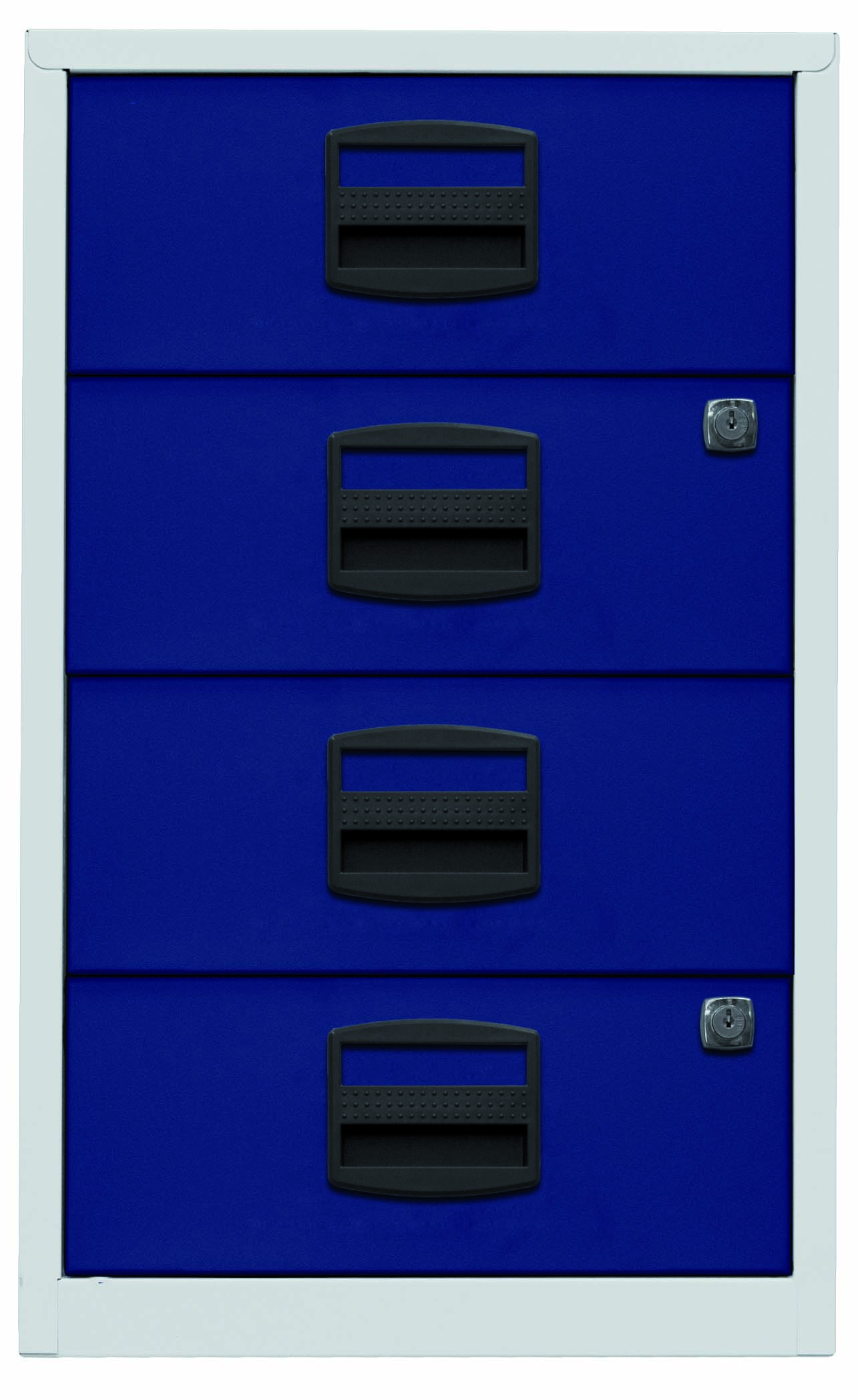 Beistellschrank PFA, 4 Universalschubladen, Farbe Korpus lichtgrau, Fronten oxfordblau