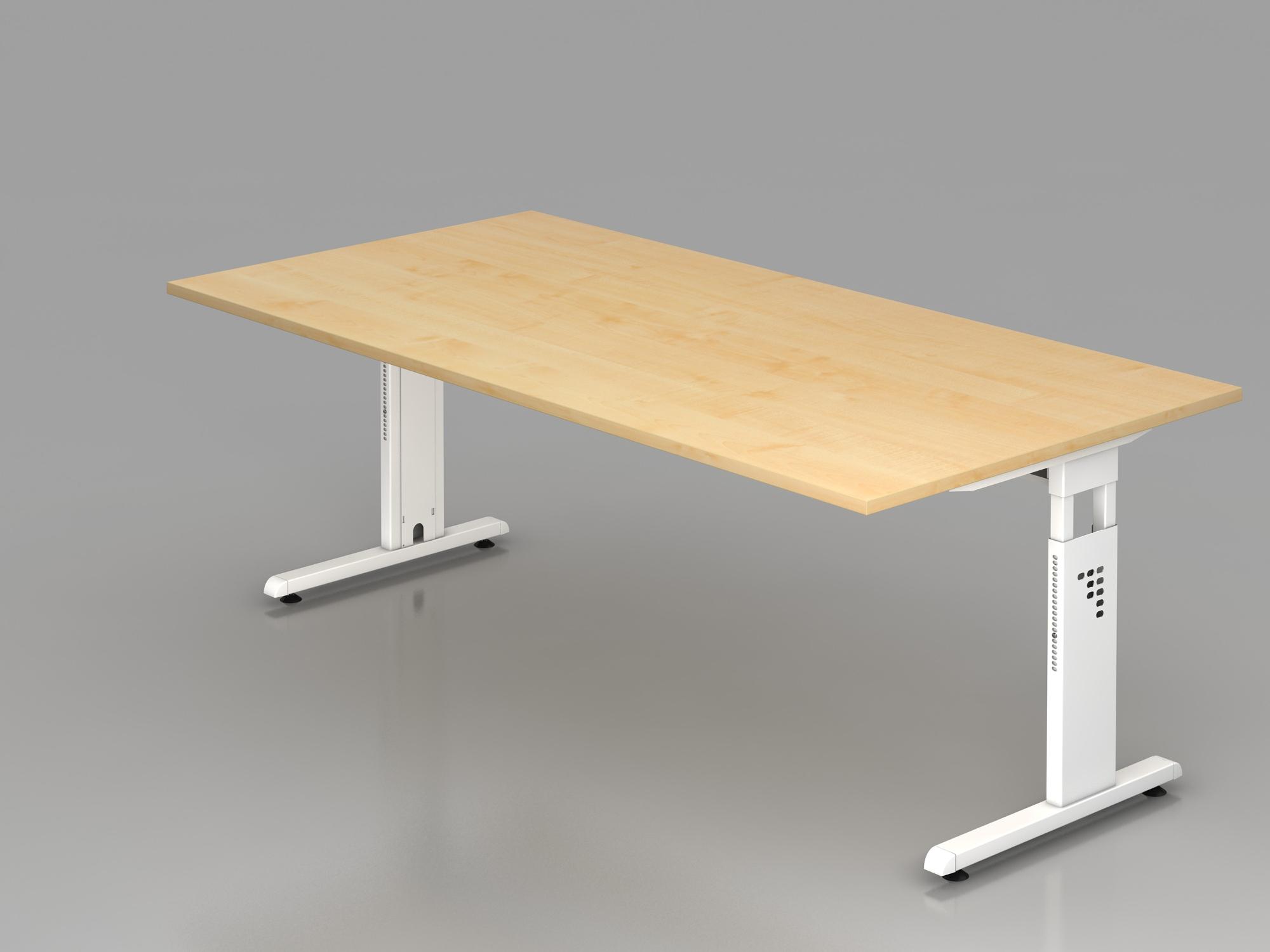 Schreibtisch C-Fuß 200x100cm Ahorn/Weiß