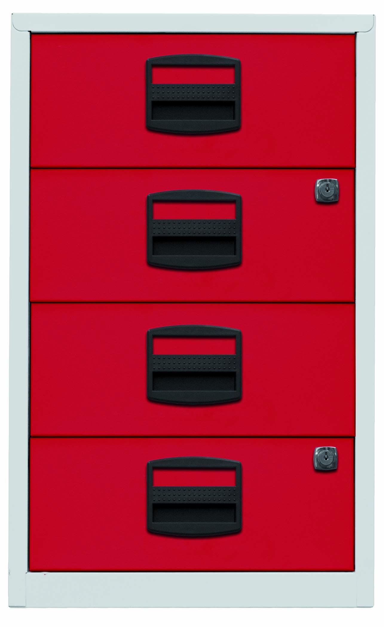 Beistellschrank PFA, 4 Universalschubladen, Farbe Korpus lichtgrau, Fronten kardinalrot