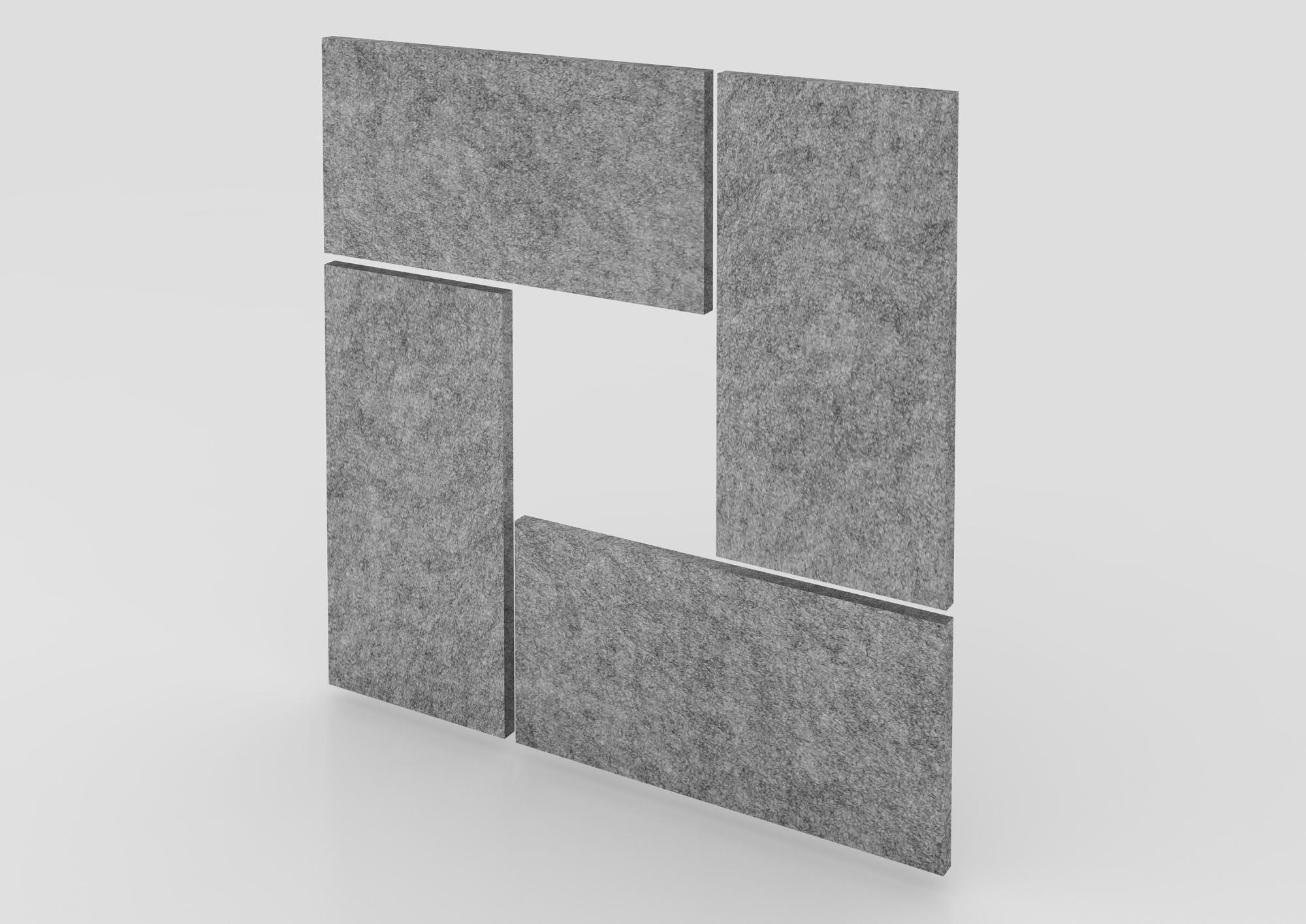 Akustik-Wandpanel 4 St. 65x33 cm, grau-mel.