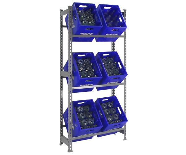 Getränkekisten Steckregal mit den Maßen: 180x80x30 Traglast: 100kg Oberfläche: grau