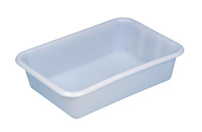 Becken mit umlaufendem U-Rand, PE, mattweiß, Volumen 25 l, LxBxH außen/innen 610x440x150/550x375x145 mm, VE 2 Stück