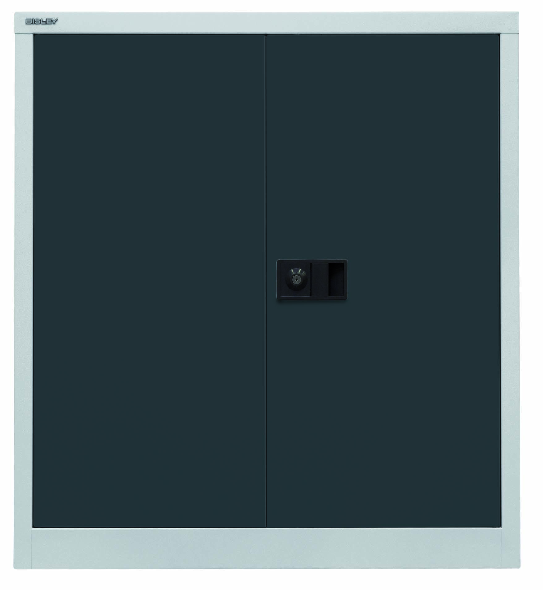 Bisley Flügeltürenschrank Universal, 1 Fachboden, 2 OH, Farbe Korpus lichtgrau, Türen anthrazitgrau