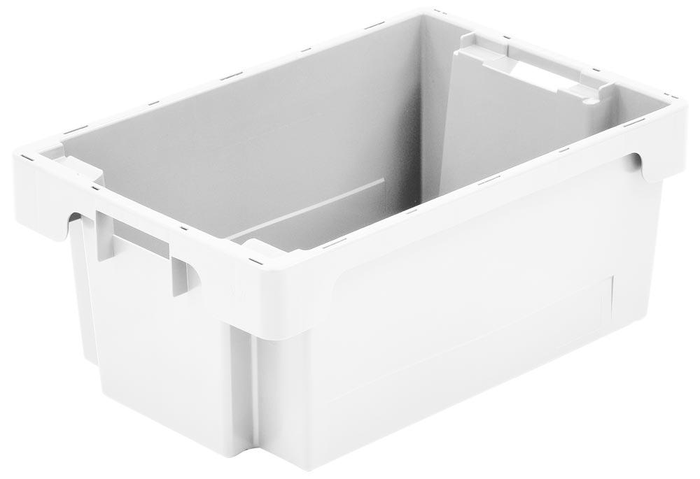 Drehstapelbehälter, PE, Boden + Wände geschlossen, LxBxH außen/innen 600x400x150/482x365x147 mm, Volumen 25 l, Farbe weiß, VE 2 Stück