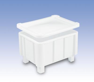 Euronormbehälter, Polyethylen, verrippter Boden, mit 4 Füßen, Vol. 140 l, Außen-/Innennmaße LxBxH 800x600x510/720x515x400 mm