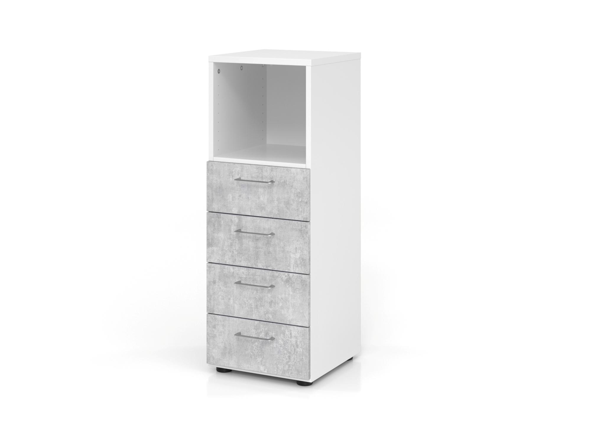 Regal 3OH, 4 Schübe, BS Weiß/Beton