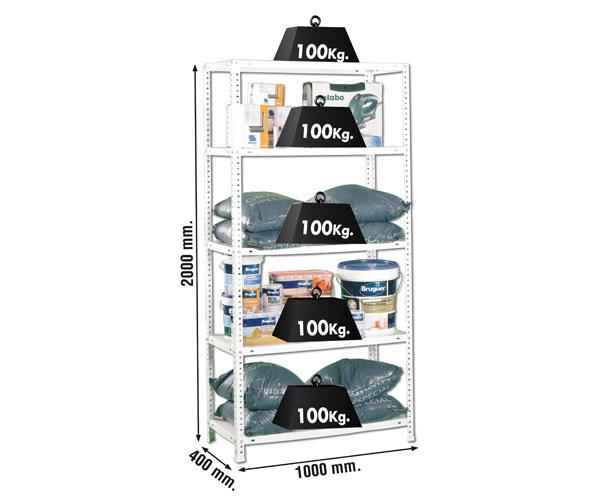 Schraubregal KIT COMFORT PLUS 5/400 BLANCO Maße: 200x100x40 Traglast: 100kg Oberfläche: weiß