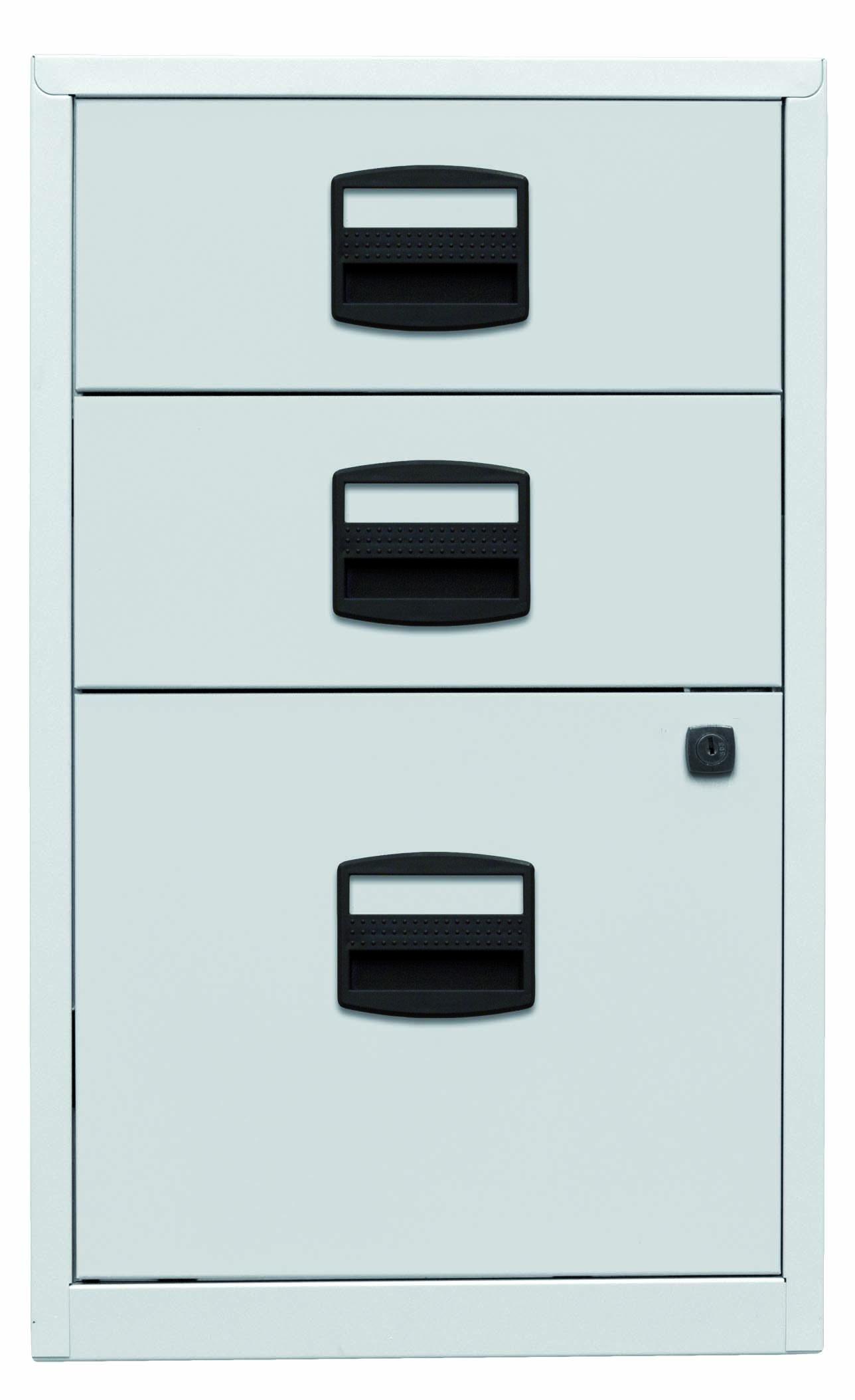 Beistellschrank PFA, 2 Universalschubladen, 1 HR-Schublade, Farbe lichtgrau