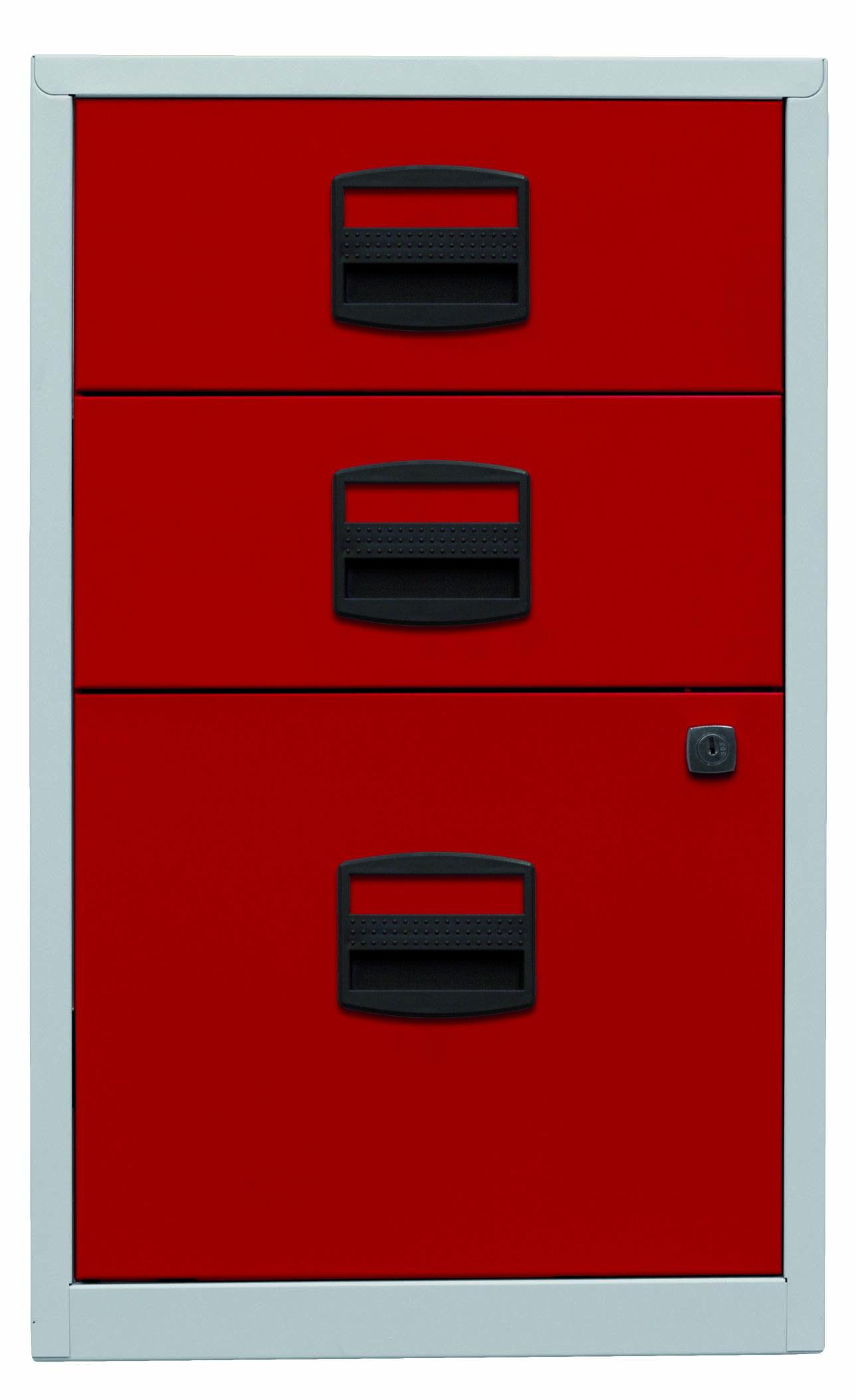 Beistellschrank PFA, 2 Universalschubladen, 1 HR-Schublade, Farbe Korpus lichtgrau, Fronten kardinalrot