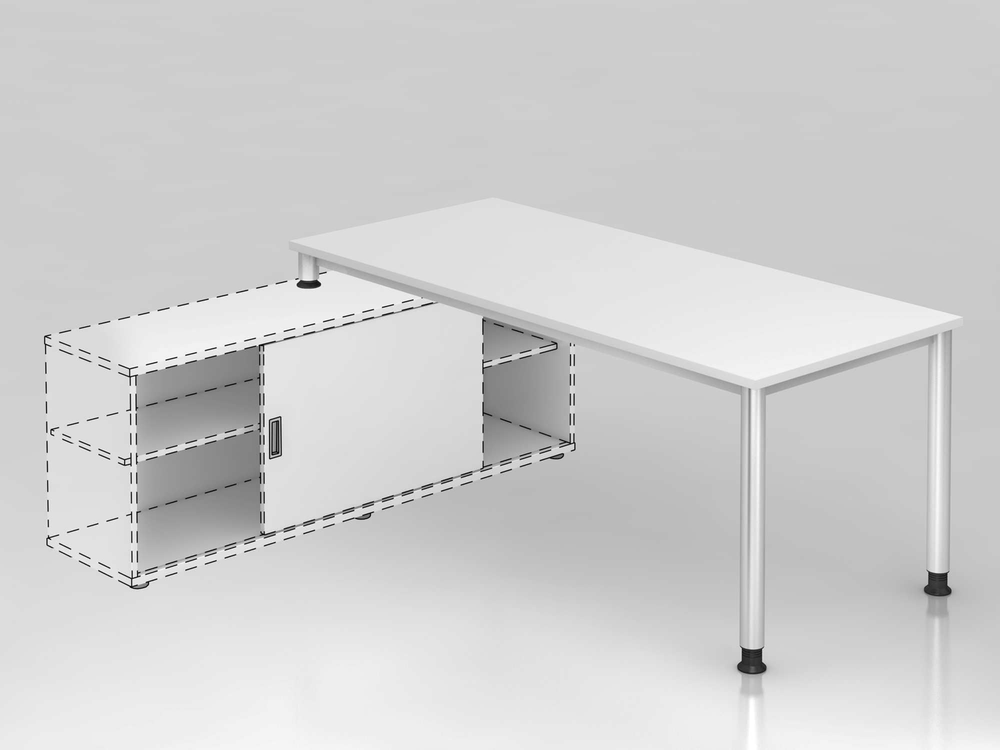 Anbauschreibtisch 4Fuß-rd.180x80cm Weiß/S