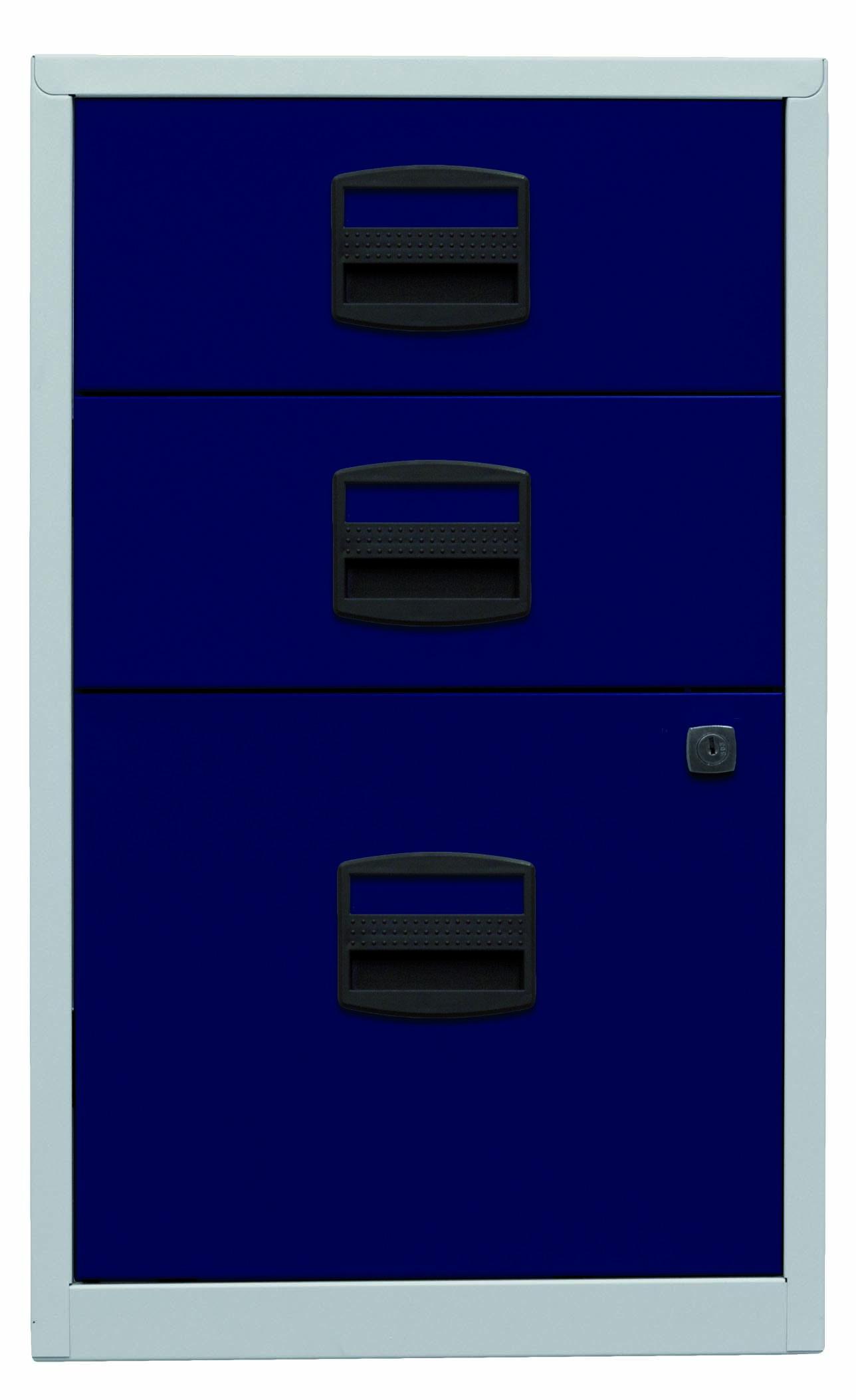 Beistellschrank PFA, 2 Universalschubladen, 1 HR-Schublade, Farbe Korpus lichtgrau, Fronten oxfordblau