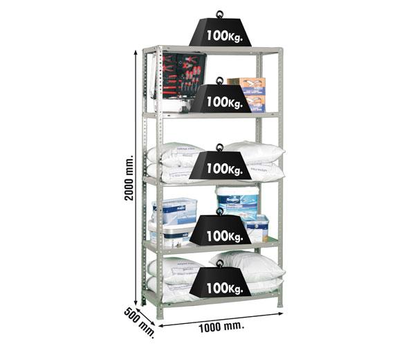 Schraubregal KIT COMFORT PLUS 5/500 GALVA Maße: 200x100x50 Traglast: 100kg Oberfläche: verzinkt
