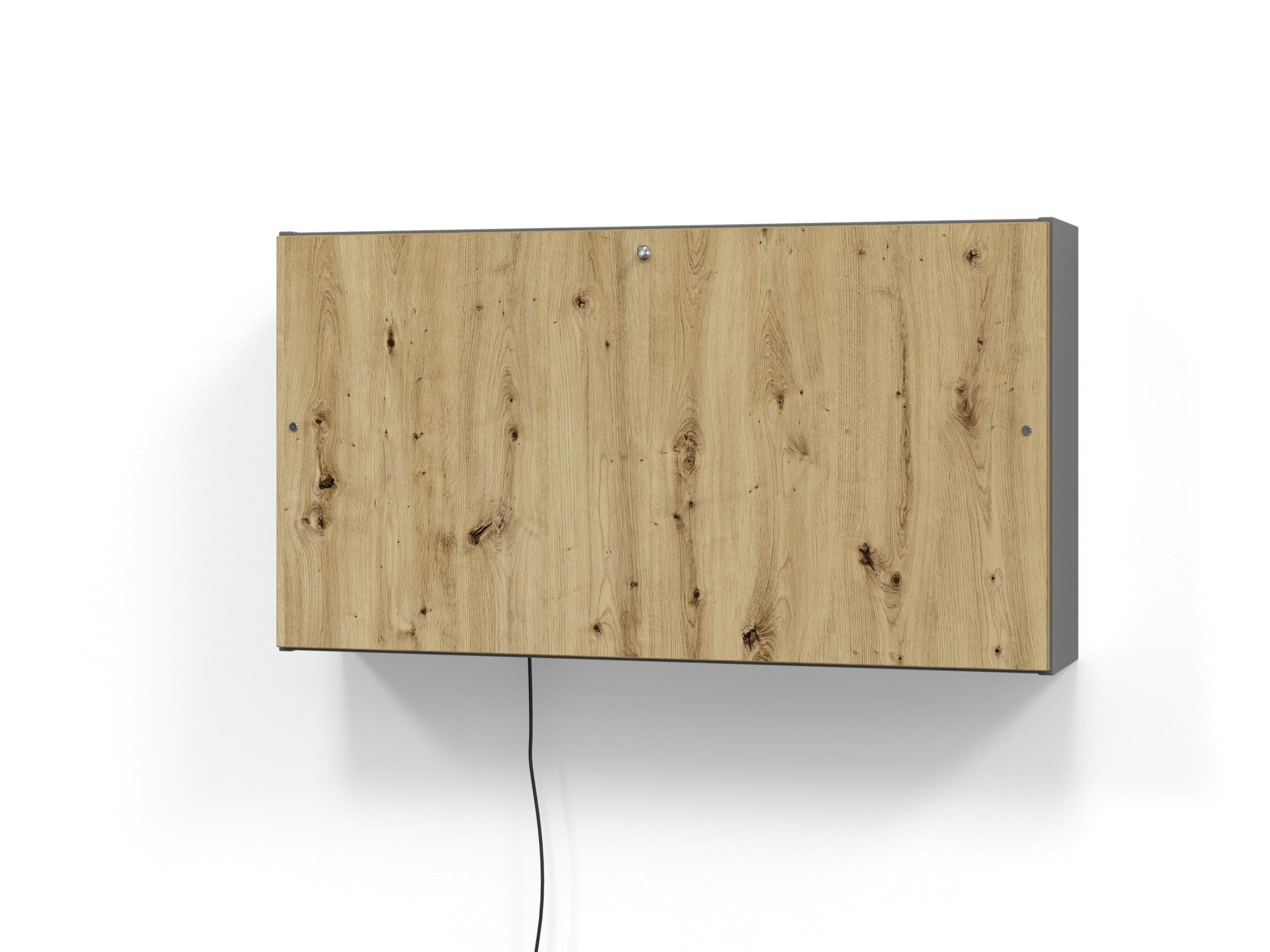 Wandschreibtisch 120cm, Graphit/Asteiche