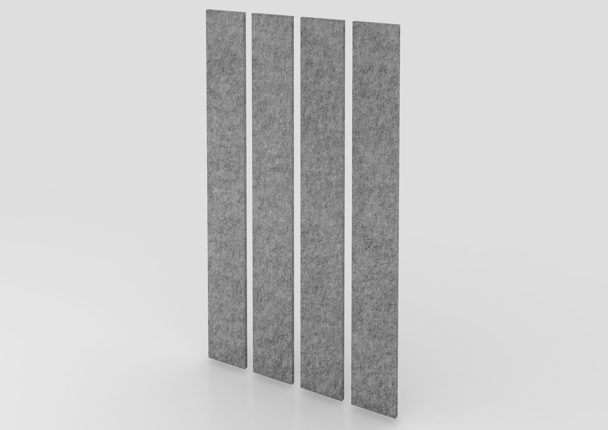 Akustik-Wandpanel 4 St. 200x25 cm, grau-mel.