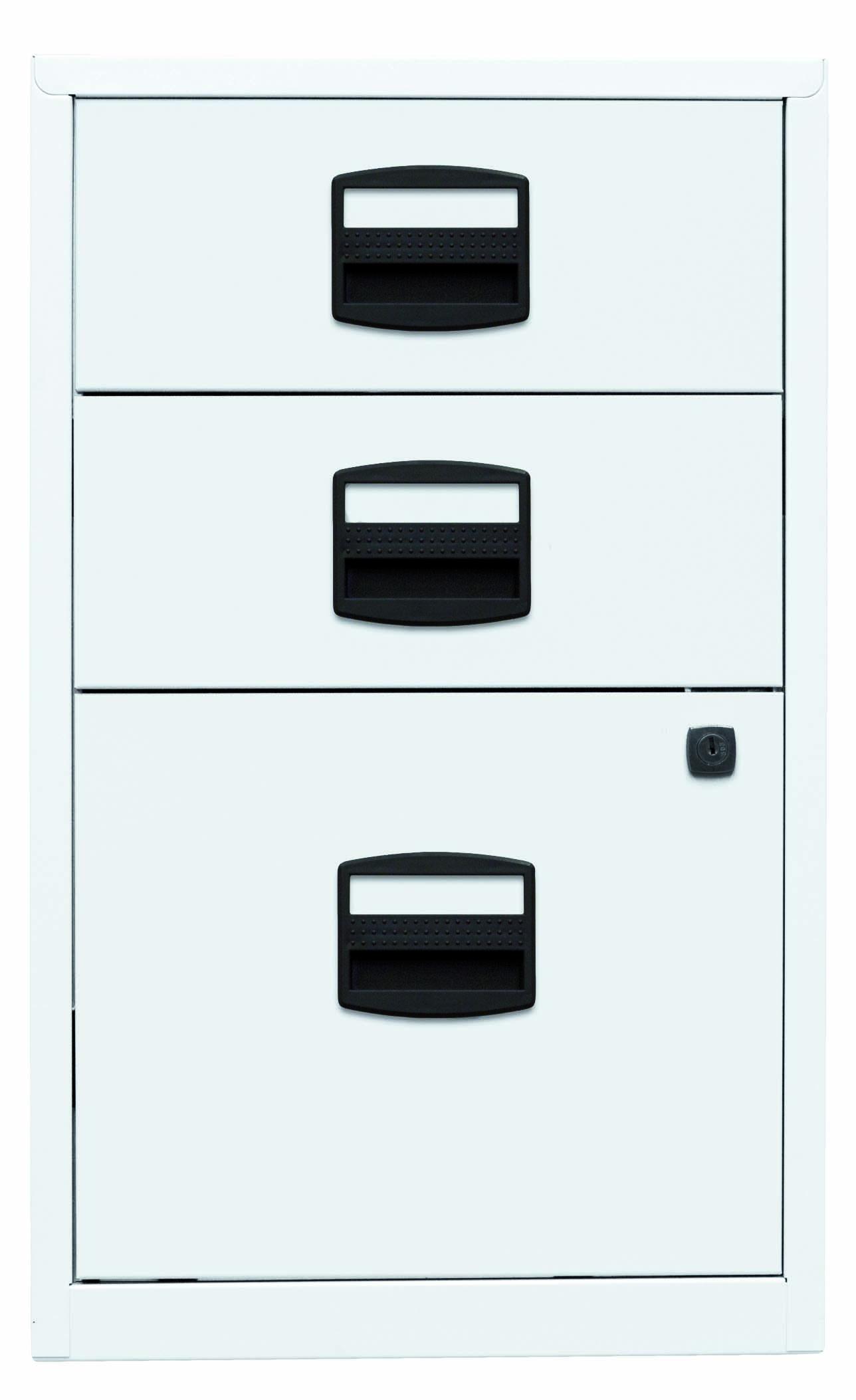 Beistellschrank PFA, 2 Universalschubladen, 1 HR-Schublade, Farbe verkehrsweiß