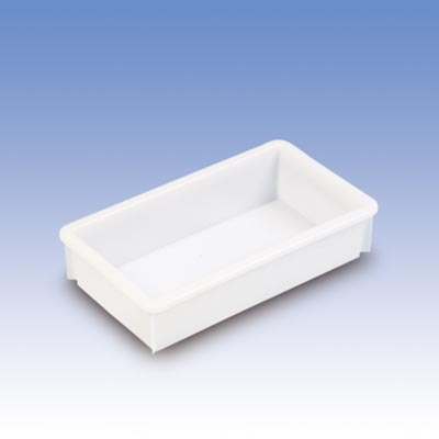 Eckiger Behälter, PE, LxBxH außen/innen 450x255x105/400x210x100 mm, Volumen 8 Liter, Farbe grau, VE 2 Stück