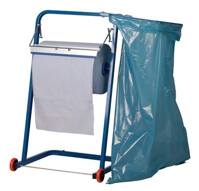 Bodenständer für Putztuchrollen bis 400 mm Breite, mit Abfallsackhalterung, Metall, blau, BxTxH 400x 440x900 mm