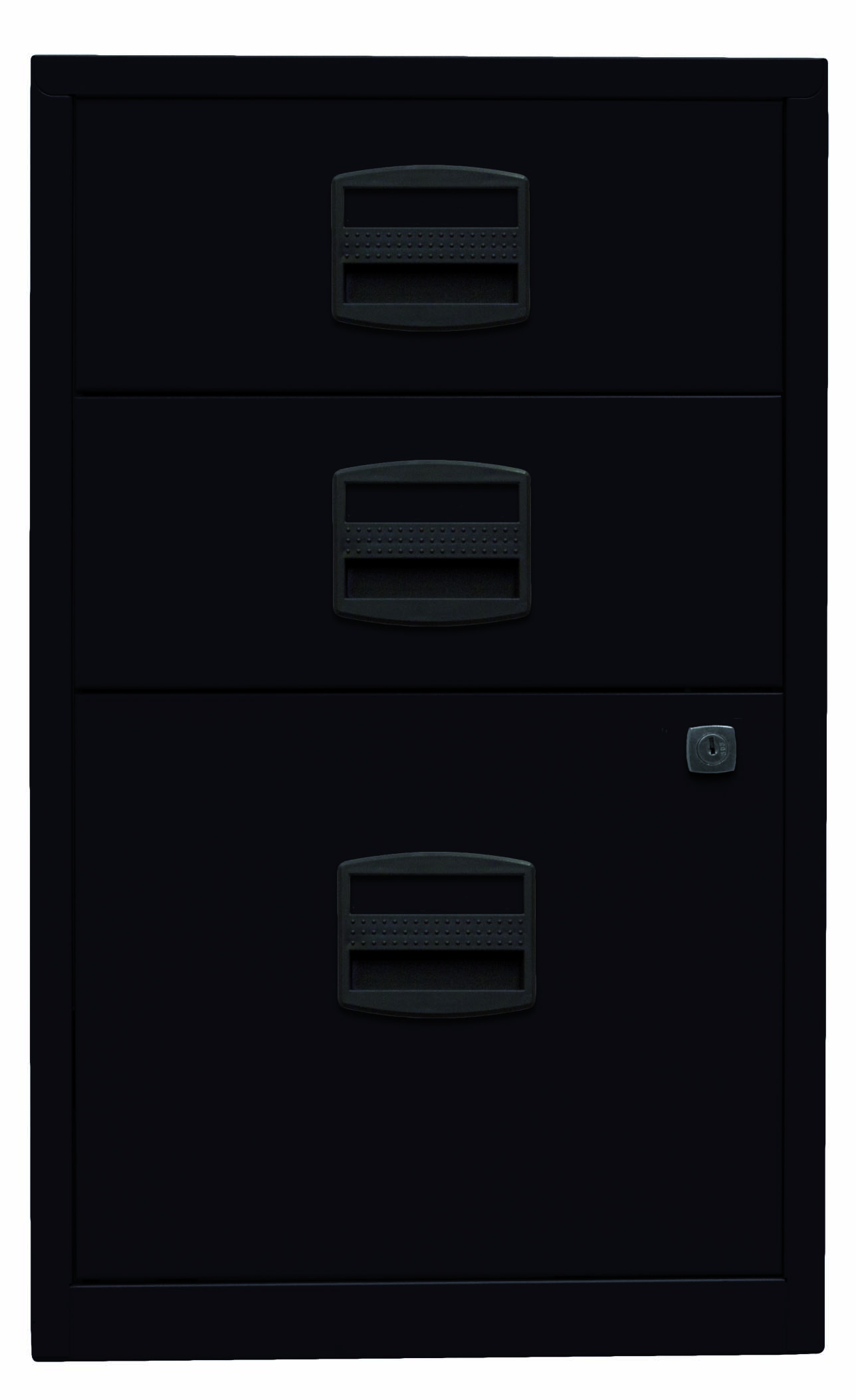 Beistellschrank PFA, 2 Universalschubladen, 1 HR-Schublade, Farbe schwarz