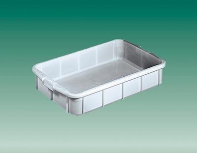 Eckiger Behälter, PE, Muschelgriff, LxBxH außen/innen 660x450x130/600x400x120 mm, Volumen 28 l, Farbe grau, VE 2 Stück