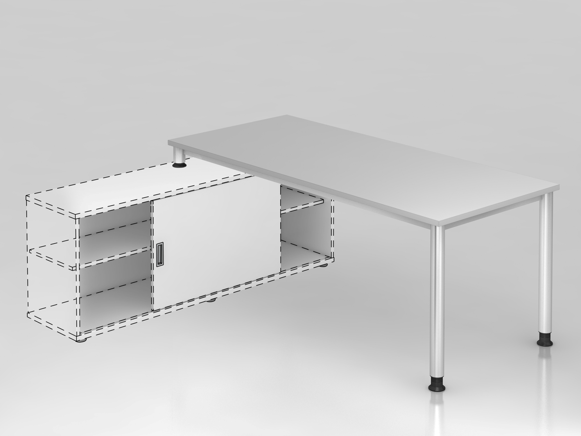 Anbauschreibtisch 4Fuß-rd.180x80cm Grau/S