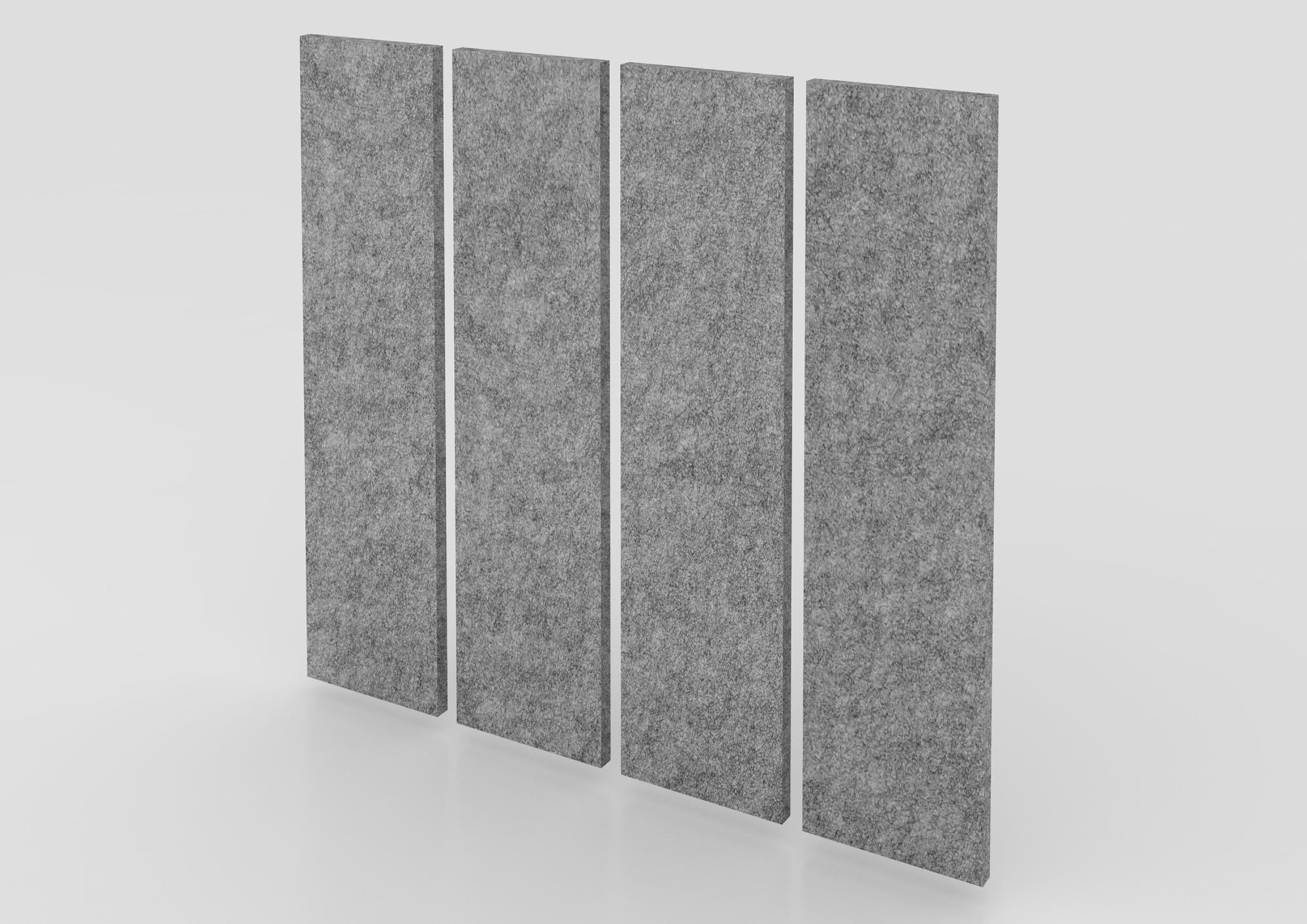 Akustik-Wandpanel 4 St. 100x25 cm, grau-mel.