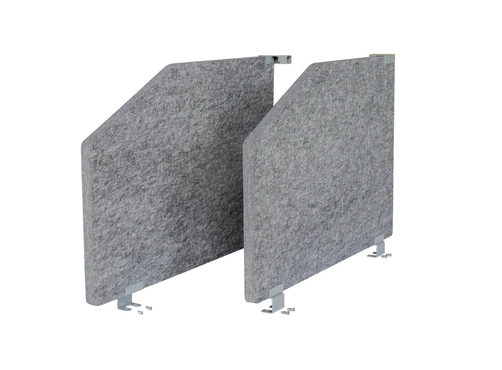 2-Set Akustikseitenwand 73,5x50, grau-meliert