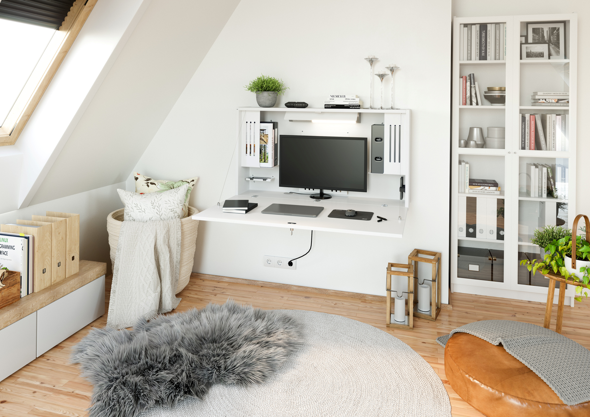 Wandschreibtisch 120cm, Weiß/Weiß