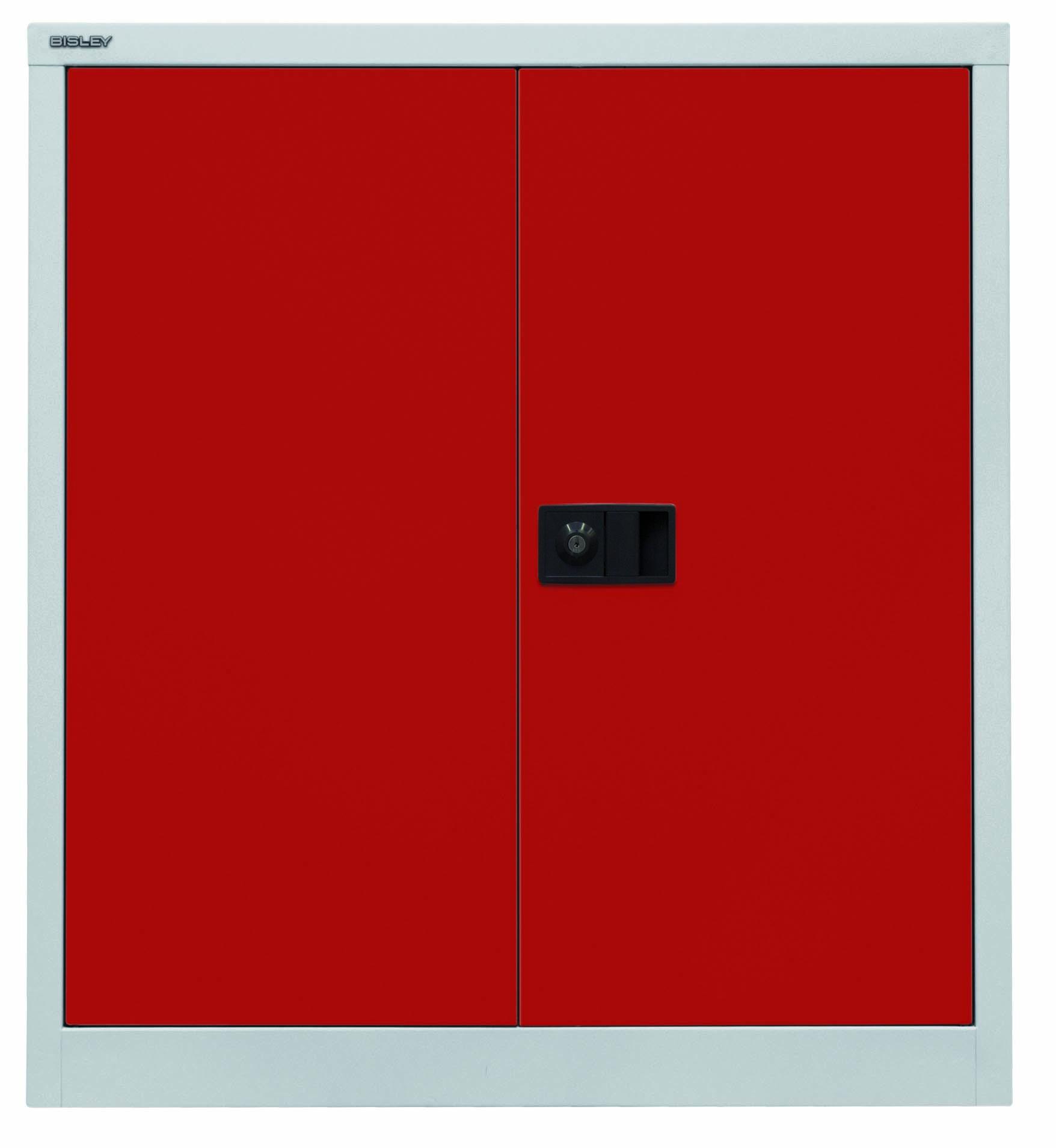 Bisley Flügeltürenschrank Universal, 1 Fachboden, 2 OH, Farbe Korpus lichtgrau, Türen kardinalrot