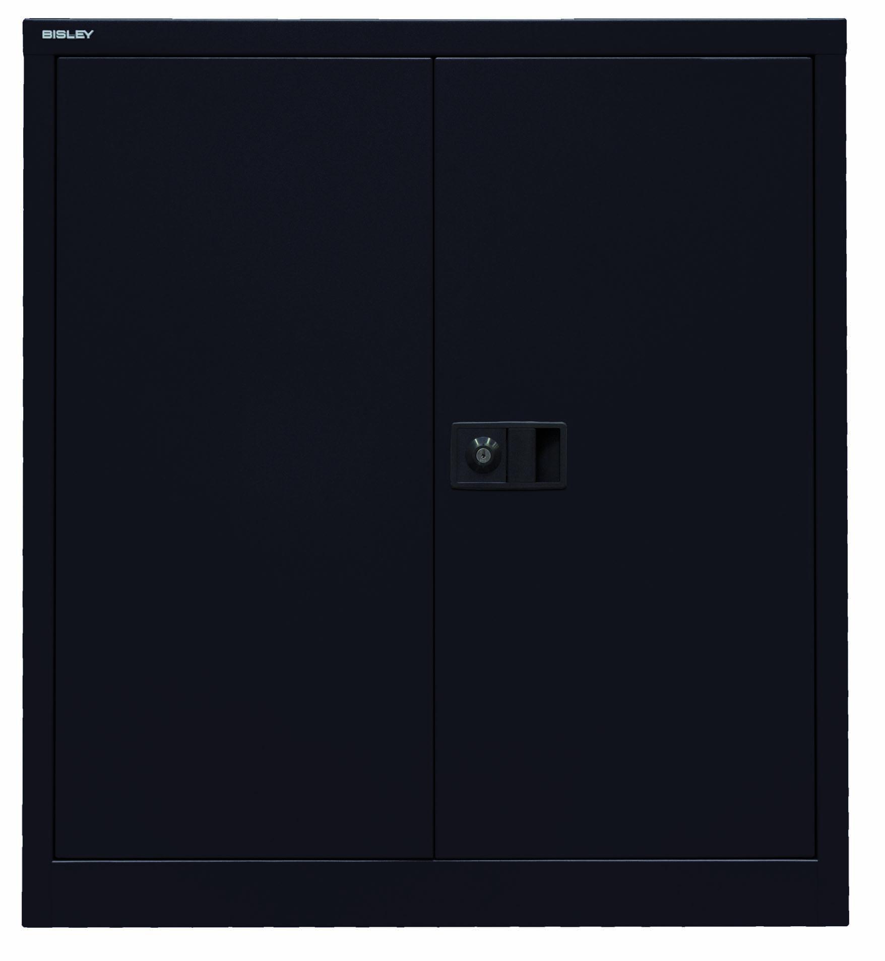 Bisley Flügeltürenschrank Universal, 1 Fachboden, 2 OH, Farbe schwarz