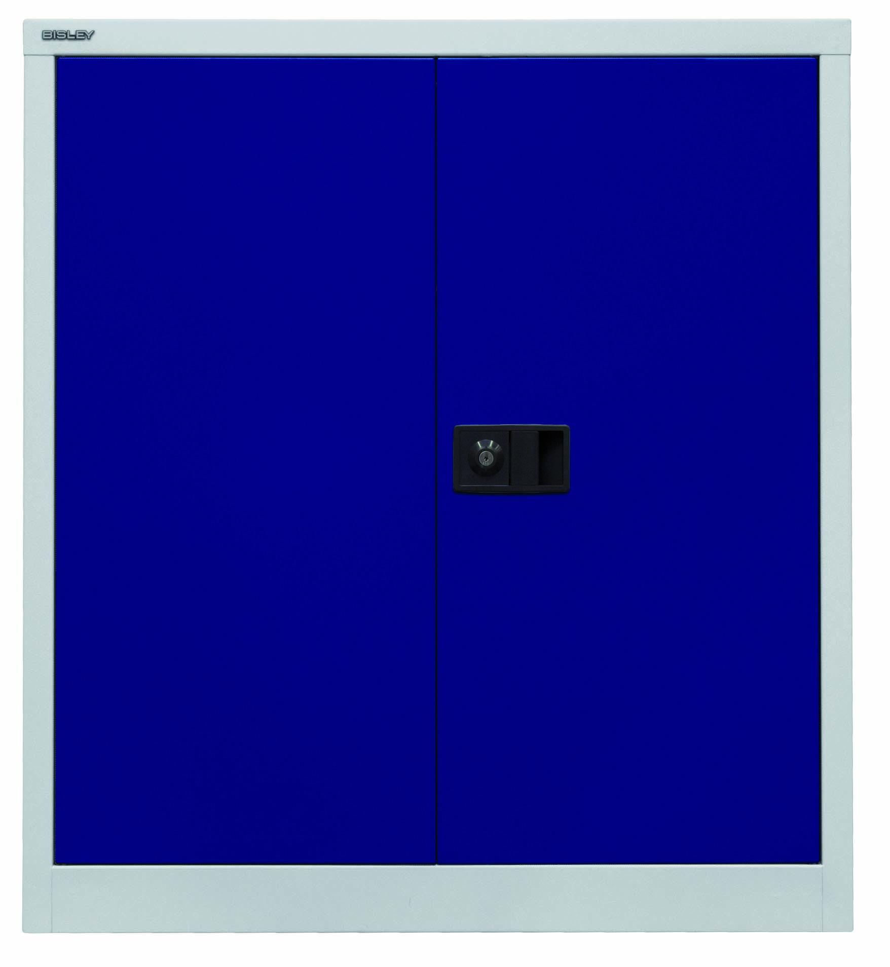 Bisley Flügeltürenschrank Universal, 1 Fachboden, 2 OH, Farbe Korpus lichtgrau, Türen oxfordblau