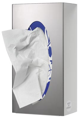 Edelstahl Wandspender, 1-fach für Handschuhboxen, geschlossen, 250x130x80 mm, inkl. Befestigungsmaterial
