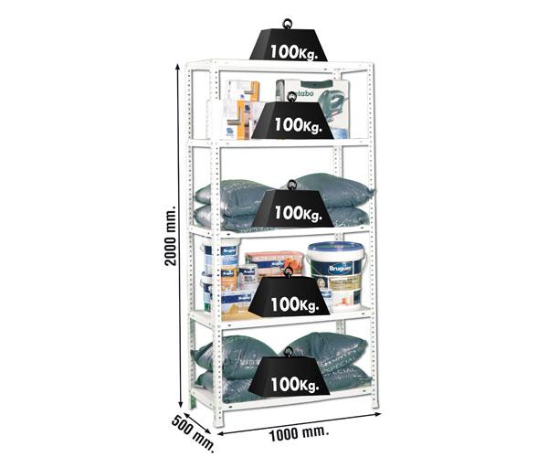 Schraubregal KIT COMFORT 5/500 BLANCO Maße: 180x90x50 Traglast: 100kg Oberfläche: weiß