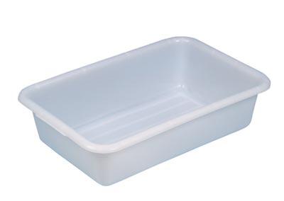 Becken mit umlaufendem U-Rand, PE, mattweiß, Volumen 40 l, LxBxH außen/innen 710x490x185/635x420x175 mm, VE 2 Stück