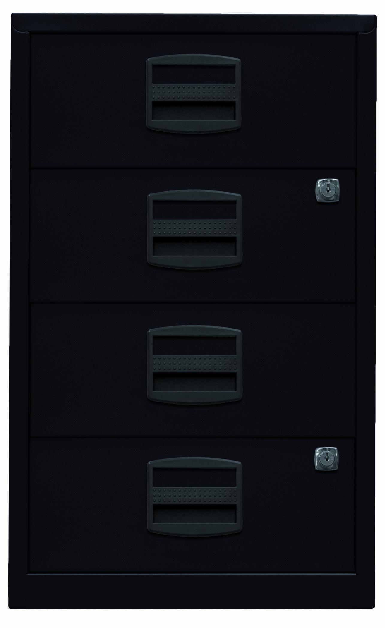 Beistellschrank PFA, 4 Universalschubladen, Farbe schwarz