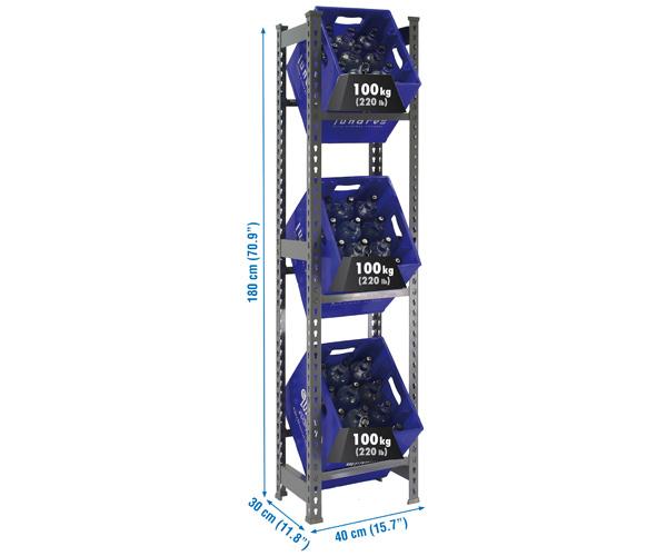 Getränkekistenregal mit 3 Böden 1800x400x300 Grau Maße: 180x40x30 Traglast: 100kg Oberfläche: grau